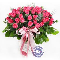[중국]핑크장미꽃바구니