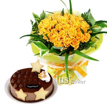 초코케익 & 노랑장미꽃다발