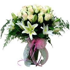 백합장미혼합꽃병